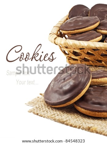 chocolate cookie in the basket - stock photo