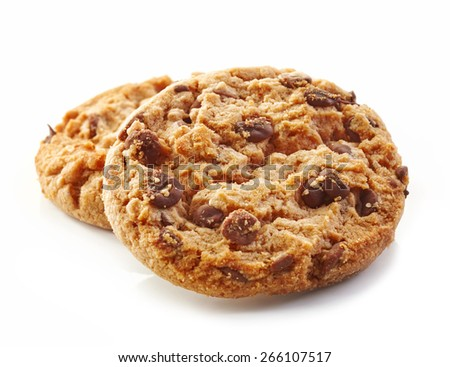 chocolate cookies isolated on white - stock photo