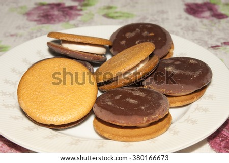 Chocolate cookies on a plate - stock photo
