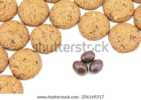 Chocolate cookies with a mixture of chocolate chips is the homemade pastry with delicious and chocolate sphere. on white background - stock photo