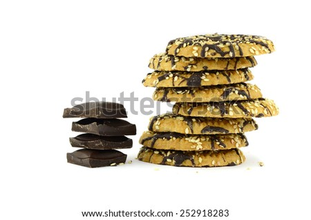 Chocolate cookies with chocolate bar (isolated object on white background) - stock photo