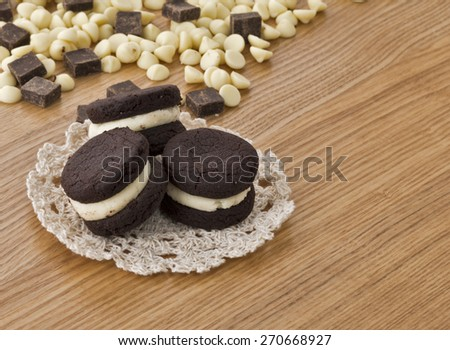 Chocolate cookies with dark and  white chocolate chips - stock photo