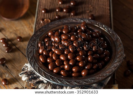 Chocolate Covered Espresso Coffee Beans Ready to Eat - stock photo