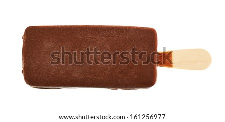 Chocolate-covered vanilla ice cream bar isolated over white background - stock photo