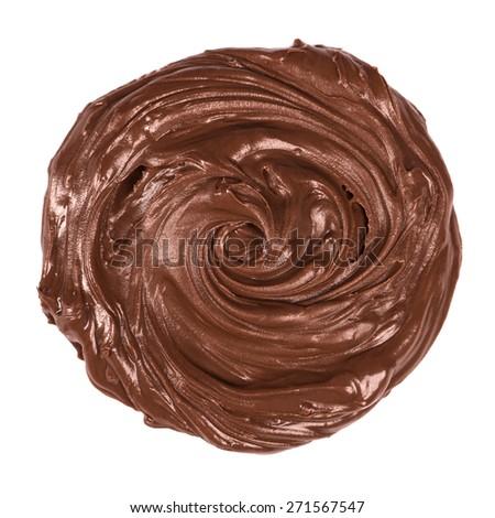 Chocolate cream close up on white - stock photo