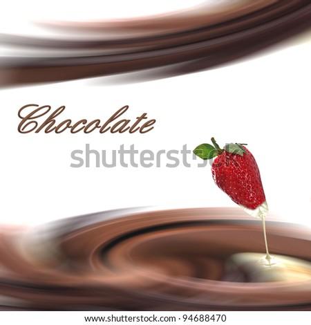 Chocolate cream with strawberry - stock photo