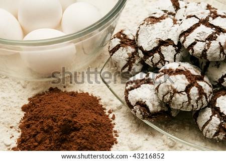 Chocolate Crinkle Cookies - stock photo