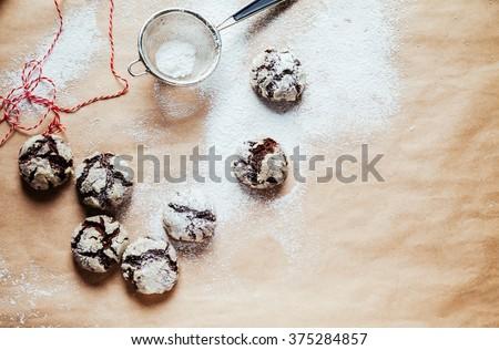 Chocolate Crinkle Cookies In Powder Sugar - stock photo