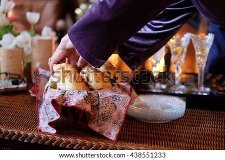 Chocolate Croissants and Champagne by the Fireplace - stock photo