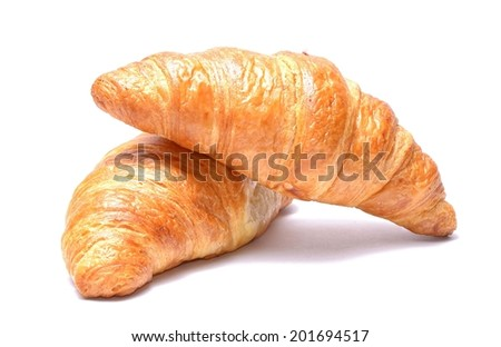 Chocolate croissants isolated on white background - stock photo
