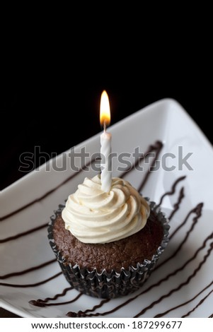 Chocolate Cupcake with a Burning Birthday Candle - stock photo