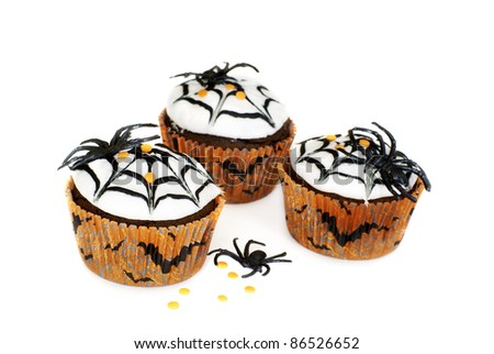 Chocolate cupcakes decorated for Halloween - stock photo