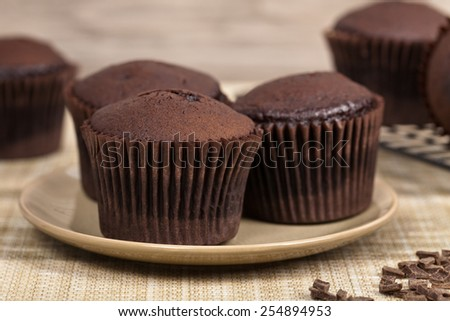 Chocolate Cupcakes. Selective focus. - stock photo