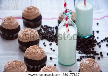 Chocolate cupcakes with Chocolate frosting, Creamy Chocolate Cupcake, Coffee Cupcake - stock photo