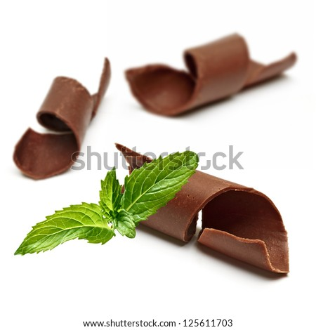 Chocolate Curls and Fresh Mint with shallow depth of field - stock photo