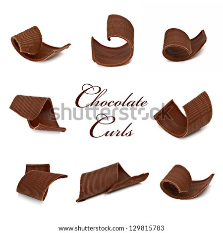 Chocolate Curls Assortment In Various Angle - stock photo