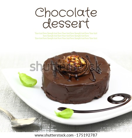 Chocolate dessert with decoration on white plate and copy-space - stock photo