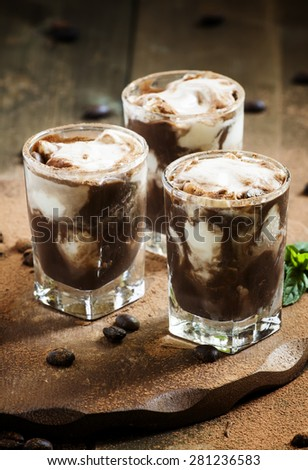 Chocolate dessert with ice cream and mint, selective focus - stock photo