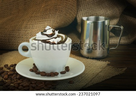 Chocolate dessert with whipped cream - stock photo