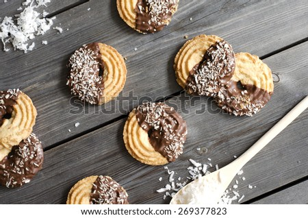 Chocolate dipped coconut shortbread cookies  - stock photo