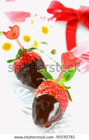 Chocolate dipped strawberries for valentine's day - stock photo