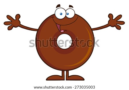Chocolate Donut Cartoon Character Wanting A Hug. Raster Illustration Isolated On White - stock photo
