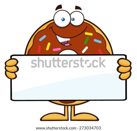 Chocolate Donut Cartoon Character With Sprinkles Holding a Blank Sign. Raster Illustration Isolated On White - stock photo