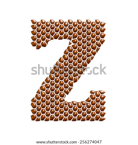 Chocolate dot spotted alphabet letter Z on white background. - stock photo