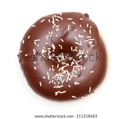 chocolate doughnut isolated on white - stock photo