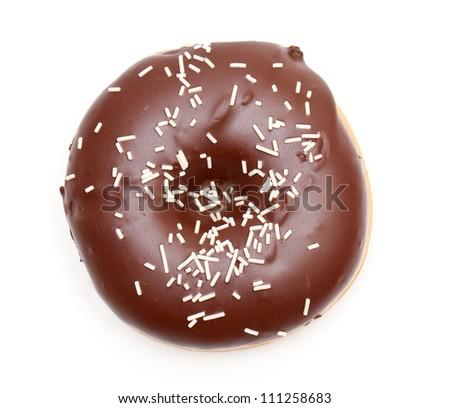 chocolate doughnut isolated on white - stock photo