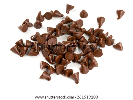 chocolate drops isolated on white - stock photo