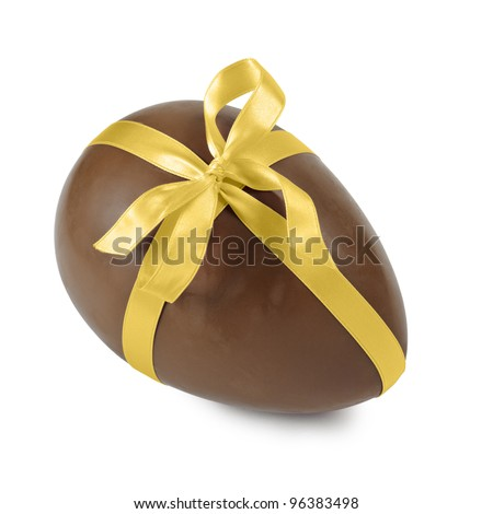 chocolate easter egg with gold ribbon, isolated on white - stock photo