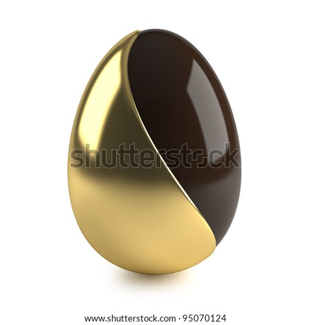 chocolate easter egg with golden decoration on white background - stock photo