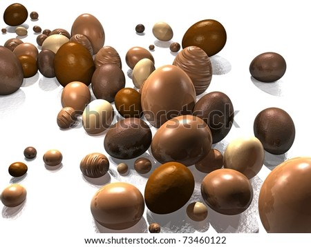 Chocolate Easter Eggs Stream on White Reflective Background - stock photo