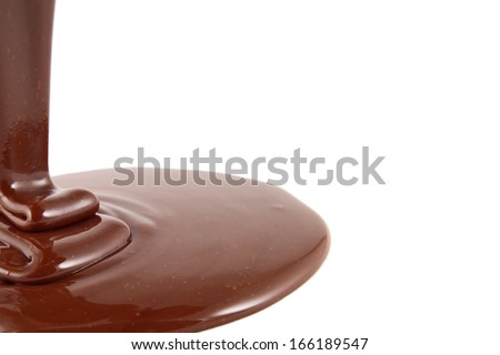 Chocolate flow isolated on white background close up  - stock photo