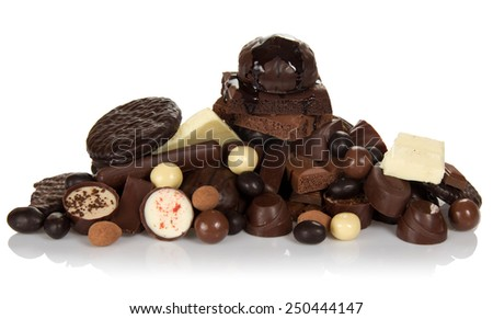 Chocolate for all tastes isolated on white - stock photo