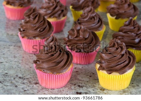 chocolate frosted cupcakes in yellow and pink wrappers on granite kitchen countertop - stock photo