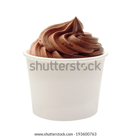 Chocolate frozen yogurt in blank paper cup on white background - stock photo
