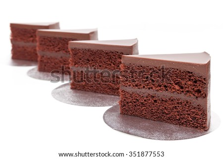 Chocolate fudge cakes show on white background isolated - stock photo