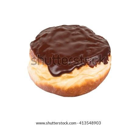 chocolate glazed doughnut isolated on white background - stock photo