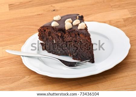 chocolate hazelnut cake - stock photo