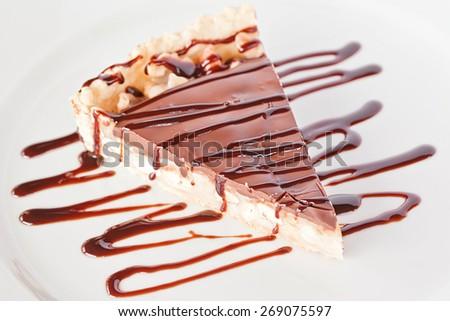 Chocolate hazelnut  caramel slice of a pie - stock photo