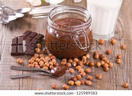 Chocolate hazelnut spread. - stock photo
