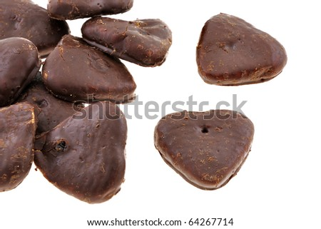 Chocolate heart filled with marmalade isolated on white background - stock photo