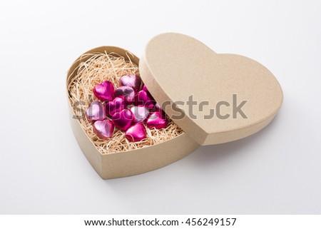 Chocolate heart-shaped box - stock photo