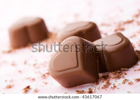 Chocolate hearts for valentines day - stock photo