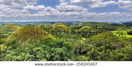 Chocolate hills in Bohol island,Philippines - stock photo