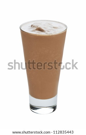 Chocolate ice cream milkshake isolated on white background - stock photo