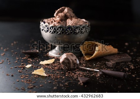 Chocolate ice cream with chocolate chips on a dark background - stock photo