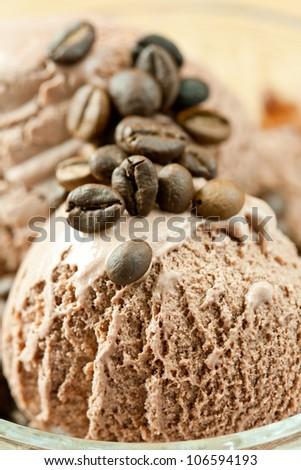 Chocolate ice team with coffee beans. - stock photo